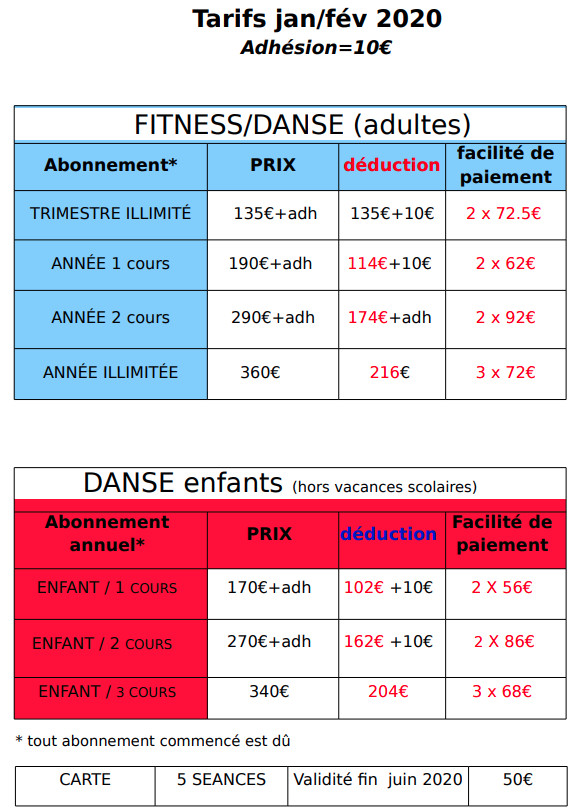 Planning Et Tarifs D Adhesion Energie Fitness